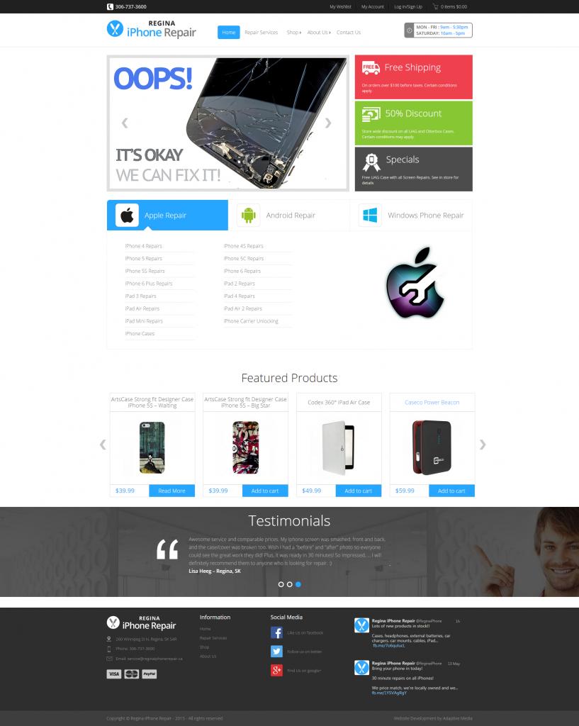 Amazing e-commerce website development by Adaptive Media in Regina