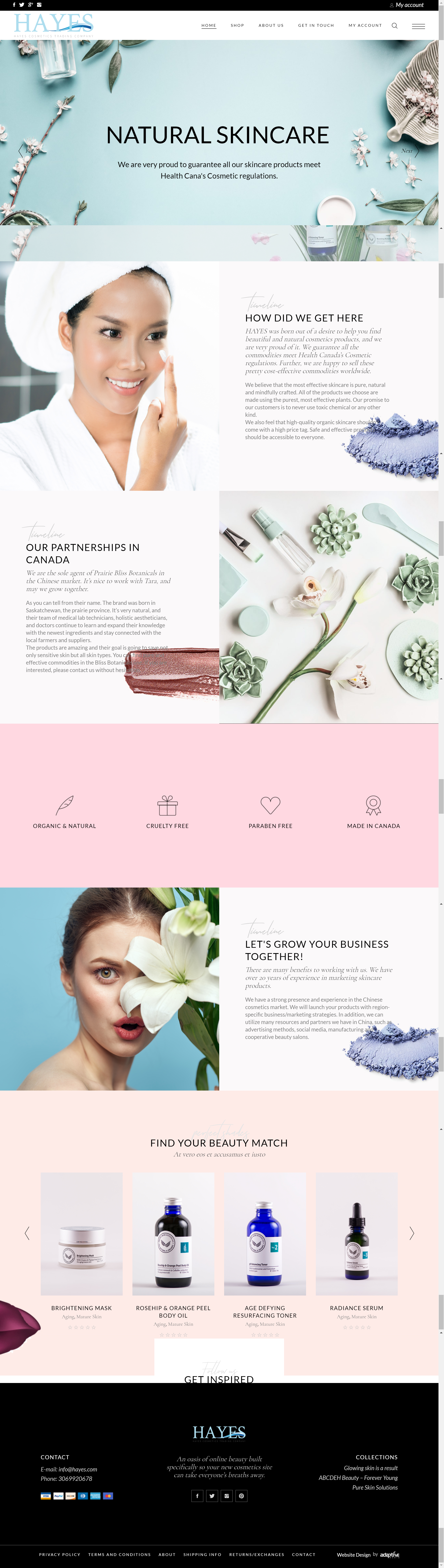 cosmetics company website design regina